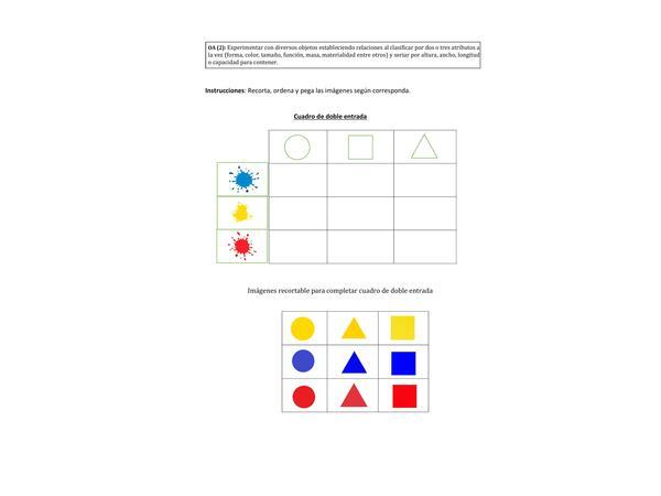 Tabla de doble entrada: Clasificación color y forma