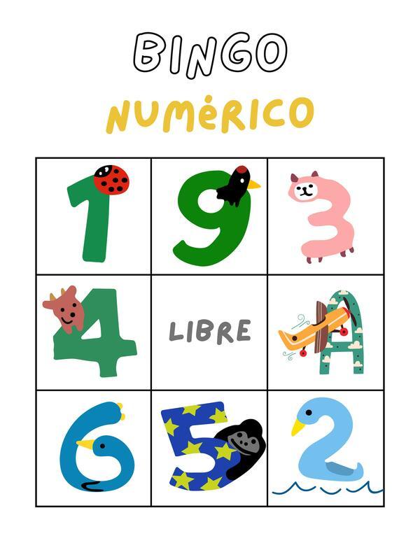Bingo números del 1 al 10