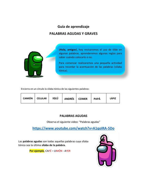 GUIA PALABRAS AGUDAS Y GRAVES