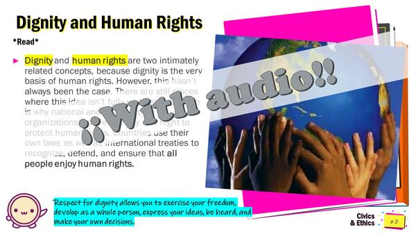 """Civics and Ethics, 7º grade, Lesson PPT. Editable. """"Dignity and Human Rights"""".""""."""