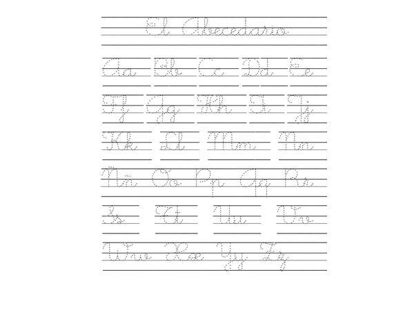 Hojas de práctica para escritura cursiva con el abecedario completo y diferentes temáticas 1 parte