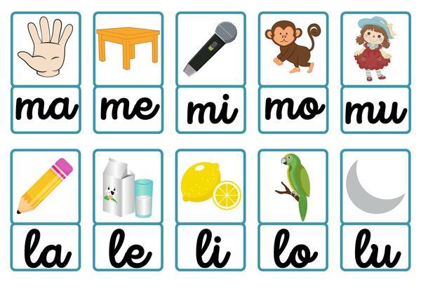 Fichas visuales para la lectura y formación de palabras