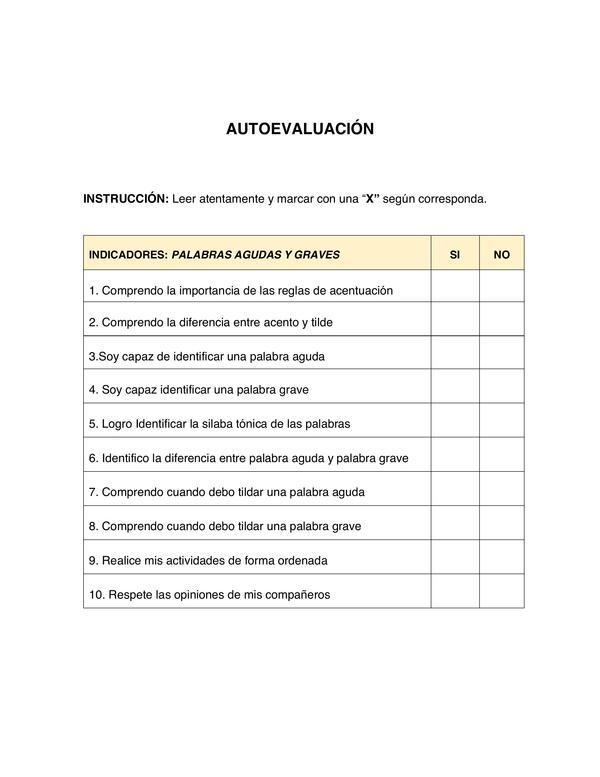 AUTOEVALUACIÓN REGLAS BASICA DE ACENTUACIÓN
