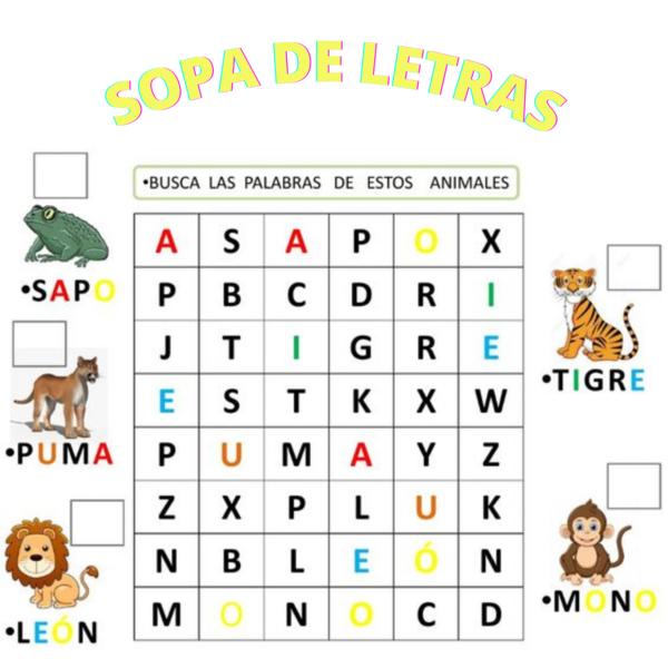 Sopa de letras: Animales.