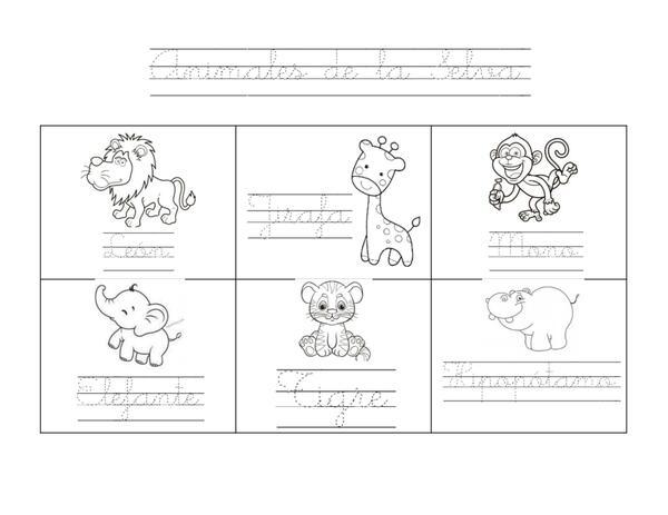 Hojas de práctica para escritura cursiva con el abecedario completo y diferentes temáticas 2 parte