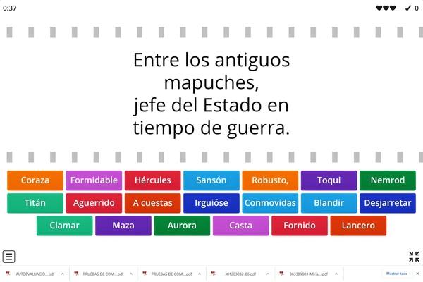 "Vocabulario Poema ""Caupolicán"" de Rubén Darío"