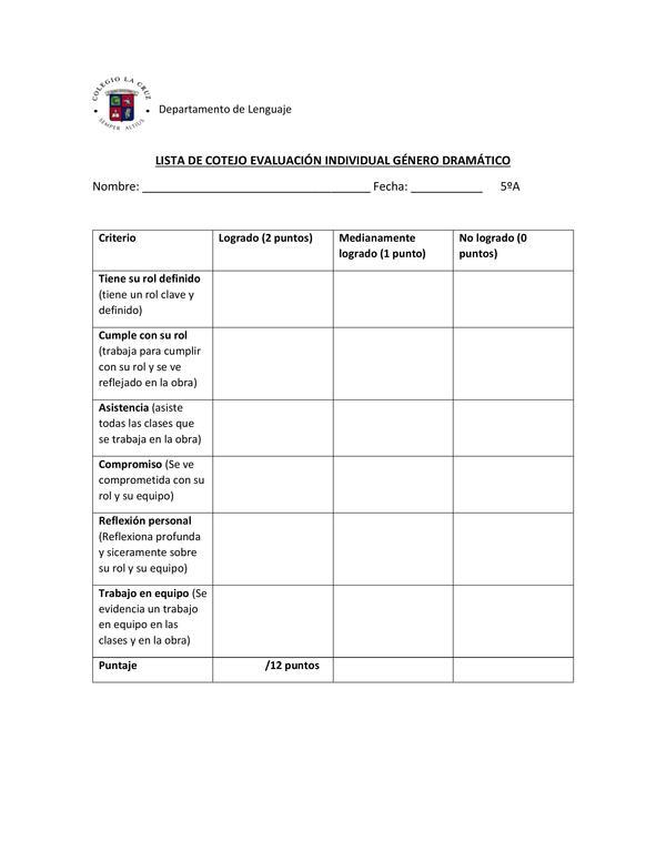 """Lista de cotejo evaluación individual """"obra dramática"""""""