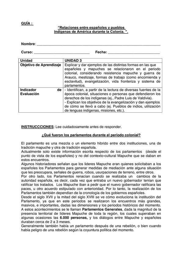 """GUÍA :  """"Relaciones entre españoles y pueblos  indígenas EN LA COLONIA, QUINTO BASICO"""