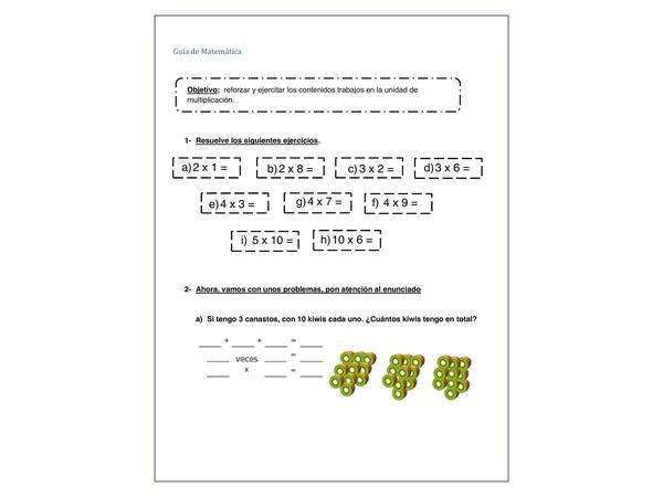 guía de multiplicaciones