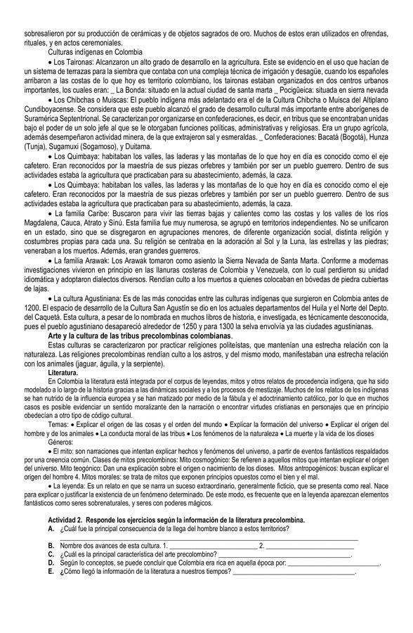 Guía para trabajar literatura Colombiana: Descubrimiento, conquista, colonia