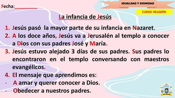 TEMA 2 - LA INFANCIA DE JESÚS
