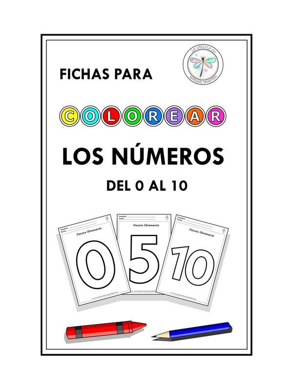 Fichas para colorear Los Números 0 al 10