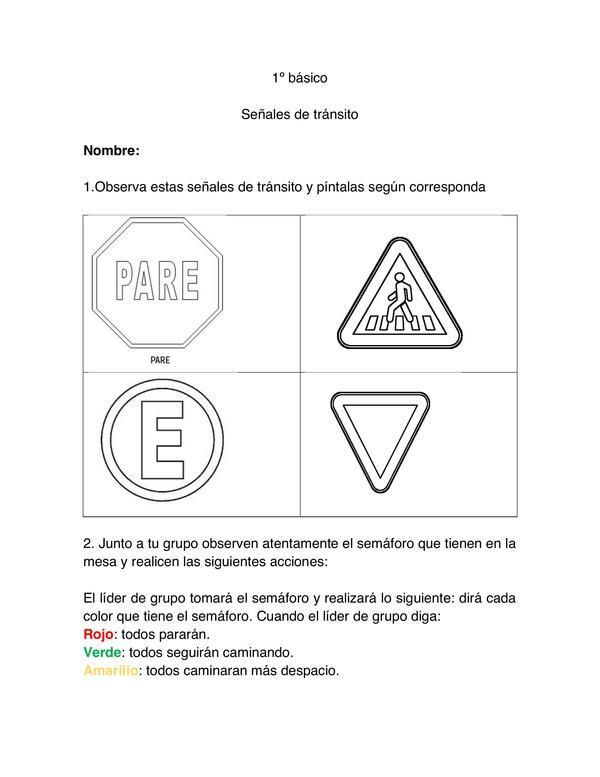 Guía de trabajo señales de tránsito, PRIMERO BASICO, HISTORIA