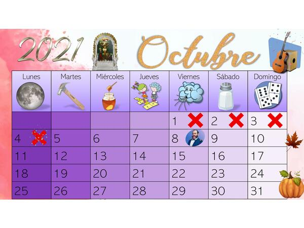 Calendario editable de octubre 2021-Perú