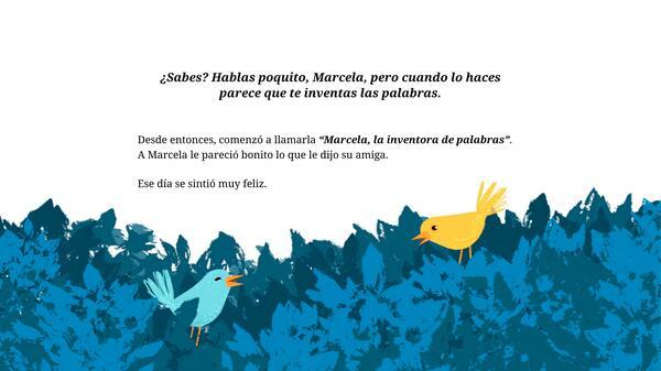 """Cuento """"Marcela, la inventora de palabras"""""""