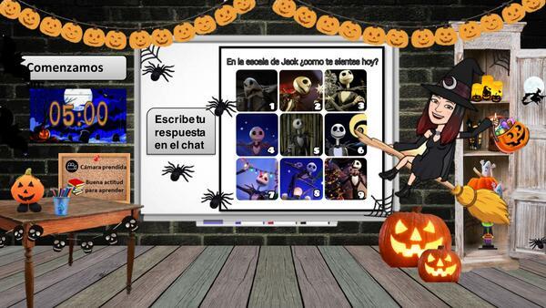 Sala virtual halloween con escala de como te sientes