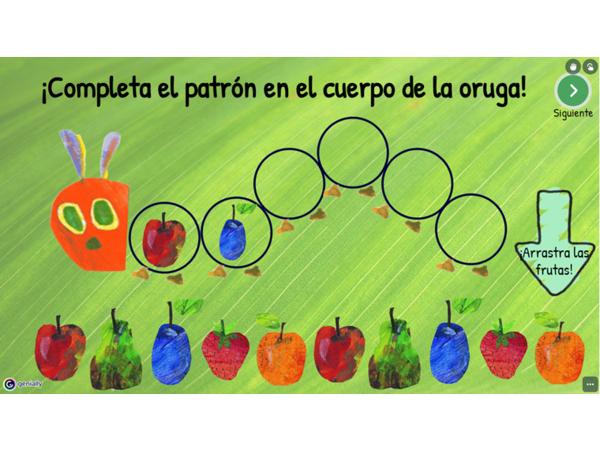 """Patrones AB/ABC de frutas: """"La pequeña oruga glotona"""""""