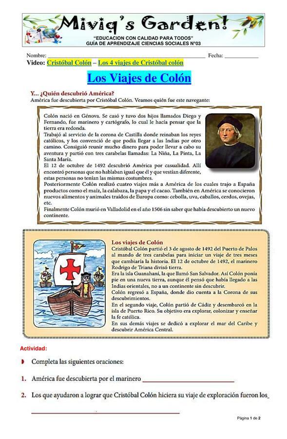 Los Viajes de Cristobal Colón
